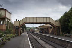 Toddington (Roger.C) Tags: toddington gloucestershire gloucesterhirewarwickshirerailway railways trains transport tracks railway preserved immaculate beautiful victorian architecture glos steamrailway footbridge passengers nikon d610 35mm primelens detail cloudy greyday ukrailways daysout