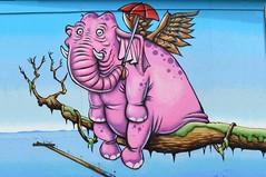 Pink Elephant Seeks Peer (dhcomet) Tags: southend seaside essex pink elephant pier streetart bhs umbrella