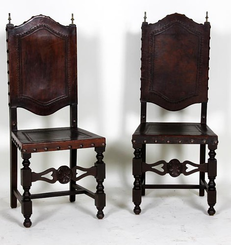 8 Portuguese Walnut and Tooled Leather Side Chairs ($504.00)