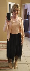 Sheer Black Skirt with Booties (krislagreen) Tags: tg transgender cd crossdresser black tulle cardigan booties patent femme femininized feminzation blond