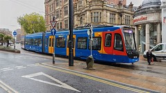 Tram Train 399206 at Cathedral, Sheffield. (ManOfYorkshire) Tags: class399 399206 206 sheffield stagecoach supertram system citycentre cathderal tram train tramtrain technology purpleroute service passenger inservice