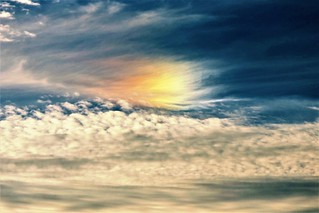 a fantastical sundog in the evening sky