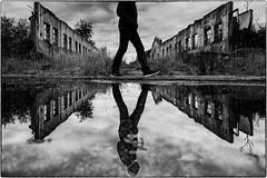 mirror of the past (ingrid.lowis) Tags: bw monochro sentimental romantik fine art baltic sea spiegelungen darss dramatic ruins abondoned reflection mirrowed lostplaces urbex