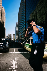 Blue Adjustment Happening (c. Melon Images) Tags: 23mm 35mm city fuji people philadelphia philly street urban blue police