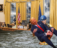 """""""The Calm After the Storm"""" (barry.kite@att.net) Tags: trump president floods fema mueller fbi russiainvestigation ovaloffice whitehouse parody satire collage political donald police rescue storm politics"""
