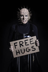 Day 3906 (evaxebra) Tags: wh wah hugs free sign cardboard black pinhead pin halloween 33daysofhalloween 33days 365days 365 blackmilk hellraiser