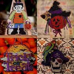 Mill Hill Halloween Quartet (GATACA1952) Tags: crossstitch millhill ornaments beads handmade crafts halloween trickortreat pirate jackolantern monster