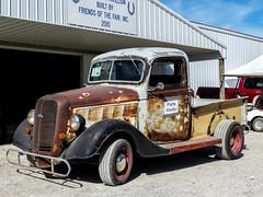 Rusty 1937 Ford Pickup Truck (J Wells S) Tags: 1937fordpickuptruck rust rusty crusty streetrod hotrod fastiquesrodcustomcarclub pumpkinrunnationalscarshowandswapmeet clermontcountyfairgrounds owensville ohio