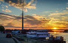 Ada-Bridge-Sunset-2 (Predrag Mladenovic) Tags: belgrade sava river ada bridge newrailway gazela sunset twilight reflections citylights