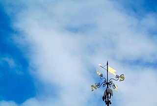 A weather vane and a sheep.