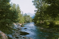 "The Noguera Pallaresa River at Escalo (davidgarciadorado) Tags: ""ithinkthisisart"" river trees evening mountains pirineos lleida film rangefinder olympus 35sp zuiko"
