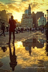 Golden Hour reflection (mgstanton) Tags: boston night tour goldenhour longwharf customhouse golden light puddle cityscape