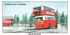 Wheels of London cigarette cards. Skid Patch. (Ledlon89) Tags: london bus buses transport lptb lt lte londonbus londonbuses vintagebuses aecbuses aec regent renown cards cigarettecards londontransport wheelsoflondon