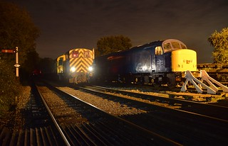Shunting loco 03170 performing a late evening manouvre with Thumper unit 205 205, past Peak class loco 45132.  Photo Charter. Epping Ongar Railway & EMPRS. 20 10 2017