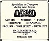 1961 ADVERT - OFFORD AND SONS SOUTH KENSINGTON - AUSTIN MORRIS FORD TRIUMPH STANDARD JAGUAR WOLSELEY RENAULT DEALERS (Midlands Vehicle Photographer.) Tags: 1961 advert offord and sons south kensington austin morris ford triumph standard jaguar wolseley renault dealers