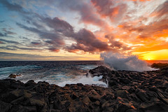 Angel jumping... (adilemoigne) Tags: ocean sea sunrise water seascape landscape wet waves colors clouds sky stones la réunion k1 15 mm angel full frame