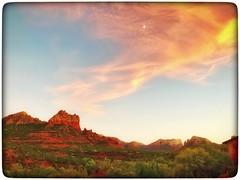 Sunset over Sedona... (Sherrianne100) Tags: redhills red sunsetwithmoon sunset sedonaarizona sedona arizona