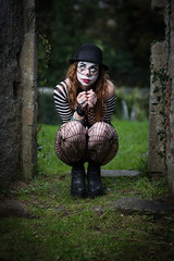 Clown low (Barry Hurley) Tags: church scary sad girl bowler clown