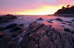 Sunset on The Rocks (fredMin) Tags: sunset long exposure rocks beach mediterranean sea antibes beauty fujinon fujifilm xt1
