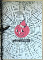 Chills and Thrills (janettefuller) Tags: handmade card handmadegreetingcard halloween halloweencard jackolantern spiderweb art crafts cardmaking papercrafts happyface