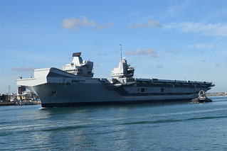 HMS Queen Elizabeth leaving Portsmouth Harbour