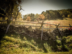 Fence (Shannonsong) Tags: fence ff blueridgeparkway mountains blueridgemountains stonefence rural splitrailfence woodenfence fall autumn trees