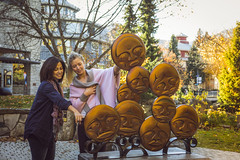 Explore the Cultural Connector and enjoy a stop the Timeless Circle. (GoWhistler) Tags: bc britishcolumbia canada whistler whistlervillage adults art fall friends lifestyle people publicart sculpture village women