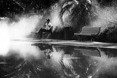riviera: miroir d'eau (gregjack!) Tags: france nice massena miroirdeau fountain mist people man street streetphotography bnw blackandwhite sony sundaylights