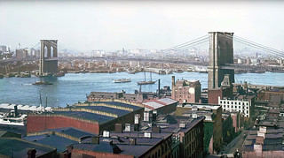 Manhattan's Lower East Side in the background, the new Brooklyn Bridge, the East River and an ivy-covered neighborhood of brownstowns on Columbia Heights. No Brooklyn Queens Expressway here! New York. June 1907