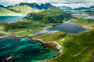 View of Vestvågøya from Offersøykammen, Lofoten Islands, Norge
