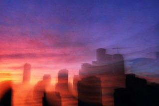 Astro Projection. Cityscapes of Passionate Sunset Dimensions