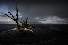 Stormy Sun Voyager (Graeme Tozer) Tags: sculpture iceland winter reykjavik weather hail sunvoyager diamondclassphotographer abigfave