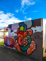 The Wizard of Odd (Steve Taylor (Photography)) Tags: wizard elf hat feet art mural graffiti streetart tag fence colourful bright fun newzealand nz southisland canterbury christchurch cbd city cloud sky