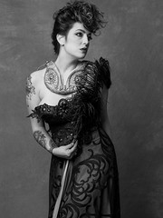 Vicky Vergara-6 (jerseytom55) Tags: pentax645z priolite portrait victorian feathers bodice blackandwhite beautifulwoman drama danger tattoo