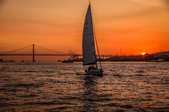 "sailing around Lisbon, Portugal, between  Torre de Belem to Panteao Nacional - sunset paints the Ponte 25 de Abril and other boats with colour. (grumpybaldprof) Tags: lisbon lisboa portugal portuguese city ""ponte25deabril"" ""torredebelem"" ""panteaonacional"" tagus ""halcyontours"" sailing sunset sunsetcolours water hdr bridge boats yachts colours restful mood relaxing ""canonpowershotg1xmarkii"" canon powershot g1xmkii ""125625mm"""
