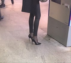 Rosina at the station and on her way to a congress (Rosina's Heels) Tags: leather high heel stiletto pumps
