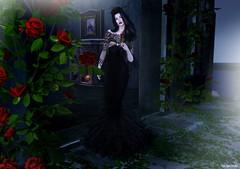 Gothic Lady (Pau*Rubi Dexler*) Tags: sl secondlife tiffany gothic dark lady girl night roses gown blog black garden halloween jewel