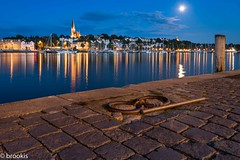 18 (brookis-photography) Tags: flensburg harbour 18 cobblestones water lights moon bluehour
