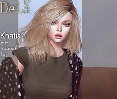 "=DeLa*= new hair ""Khatia"" (=DeLa*=) Tags: dela hair fitted rigged bento mesh materials secondlife secondlifefashion sl style slhair tlc new"