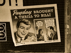 Payday Brought a Thrill to Bill (Steve Taylor (Photography)) Tags: paydaybroughtathrilltobill bricklane ssova silentbill money cash payday graffiti streetart pasteup wheatup wheatpaste brown sepia paper tile man lady woman uk gb england greatbritain unitedkingdom london