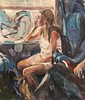 Festival going Girl acrylic 10 x 12 inches (Captain Wakefield) Tags: thinking carriage acrylic contemporary figurative lady passengers travelers train burton samuel artist samuelburton woman girl impressionist art painting people sit sitting seated