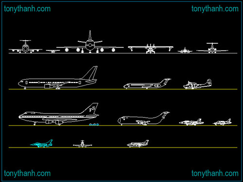Big collection of aviation, AVIONES airplane, aircraft cad block