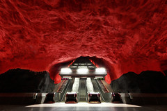 Solna centrum - Stockholm subway - Sweden (Frédéric Lefebvre - Landscape photography) Tags: red black solna solnacentrum stockholm metro subway underground escalators art urban urbanlandscape cityscape sweden