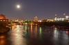 Mississippi River and the 35W Bridge (AZSunsets) Tags: mississippi minneapolis minnesota river fullmoon moon reflection bridge 35w tugboat evening moonlight city cityscape glow
