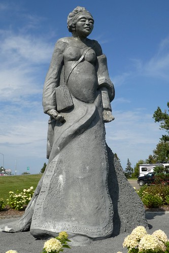 Gaspe Huge Sculpture Of Canadian Indian