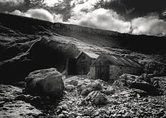 fishing hut (Anthony White) Tags: worthmatravers england unitedkingdom gb hounstout jurasiccoast blackandwhite isleofpurbeck rocks fluffy clouds nopeople firecrest polariser sel2470gm2 ilce7rm2 anthonywhitesphotography a7r