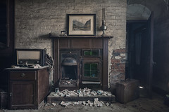 anxiety (Robert Kendall.) Tags: house abandoned decay fire smoke picture home neglected cig box match cold warm nikon d7100 wide radio lost horse green lantern robbiek