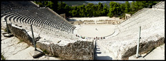 Best Seat in the House (Aviva B) Tags: greece vacation europe 2017 tourism monument marble architecture ancient classic peloponnese mythology greek withminorrestorationsitwasbuilt the theatre is famous its perfect acoustics where even slightest sound like dropping pin epidaurus preserved almost intact our day with minor restorations it was built beginning or heavy breath can be heard clearly by spectators top rows seats people show funny