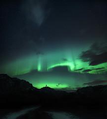 The Dark Knight Rises (Jay Daley) Tags: aurora canada banff banffnationalpark sky astro stars borealis nikon