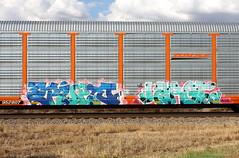 Erupto/Large (quiet-silence) Tags: graffiti graff freight fr8 train railroad railcar art autorack erupto large vts d30 dirty30 ba bnsf ttgx952807